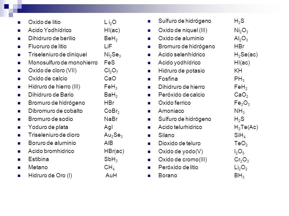 Sulfuro de hidrógeno H2S Oxido de niquel (III) Ni2O3