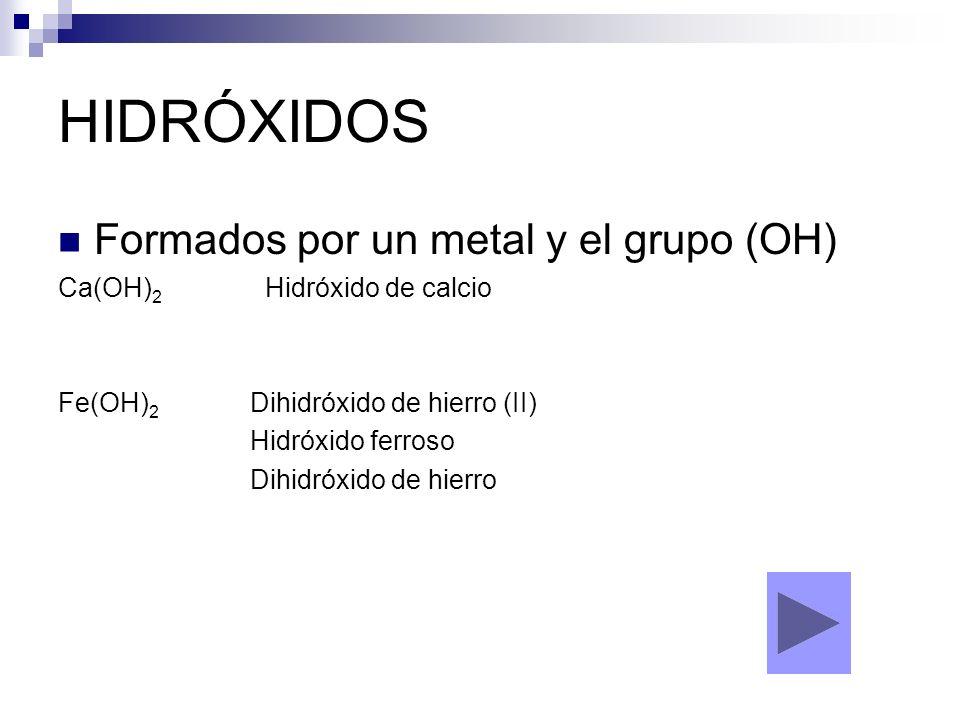 HIDRÓXIDOS Formados por un metal y el grupo (OH)