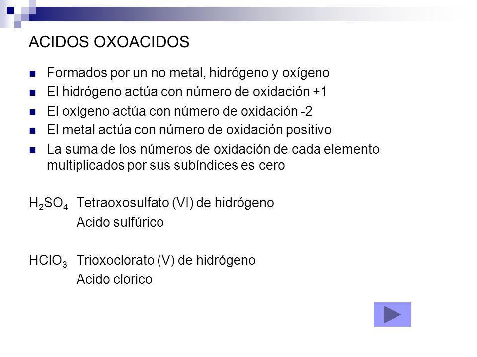 ACIDOS OXOACIDOS Formados por un no metal, hidrógeno y oxígeno