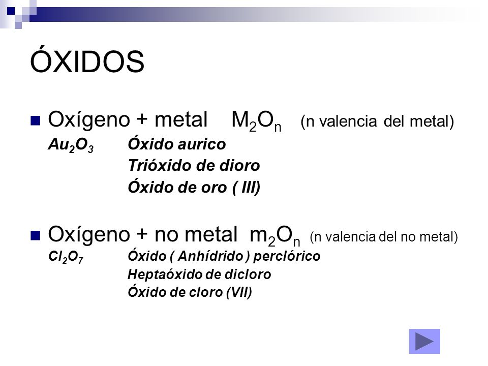 ÓXIDOS Oxígeno + metal M2On (n valencia del metal)