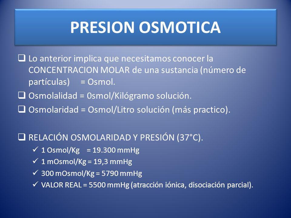 PRESION OSMOTICALo anterior implica que necesitamos conocer la CONCENTRACION MOLAR de una sustancia (número de partículas) = Osmol.