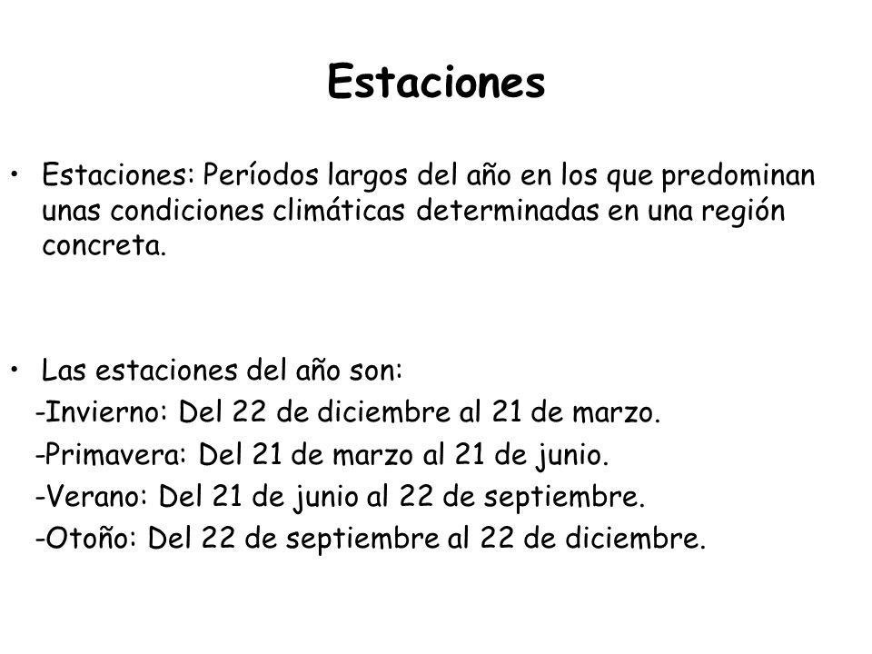 Estaciones Estaciones: Períodos largos del año en los que predominan unas condiciones climáticas determinadas en una región concreta.