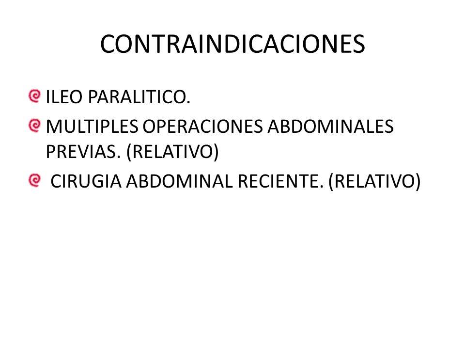 CONTRAINDICACIONES ILEO PARALITICO.