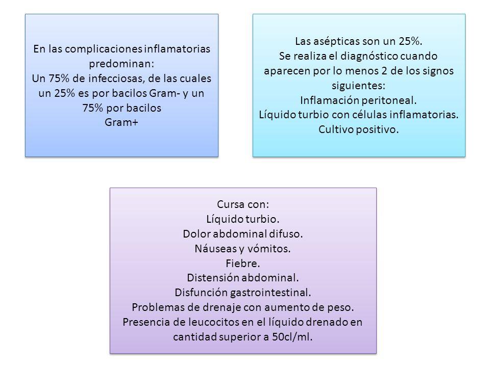 En las complicaciones inflamatorias predominan: