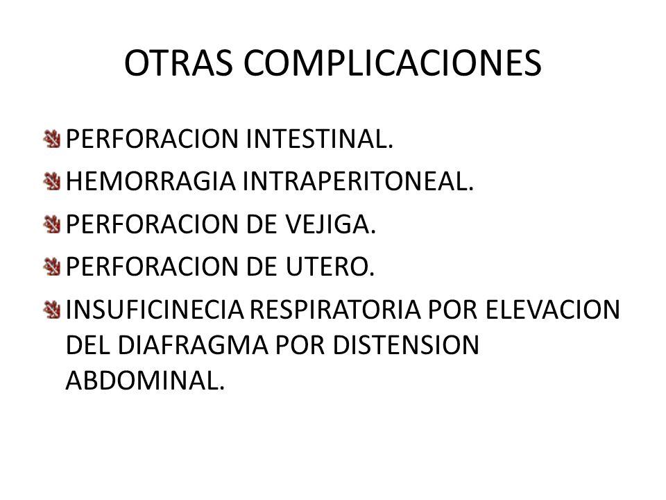 OTRAS COMPLICACIONES PERFORACION INTESTINAL.