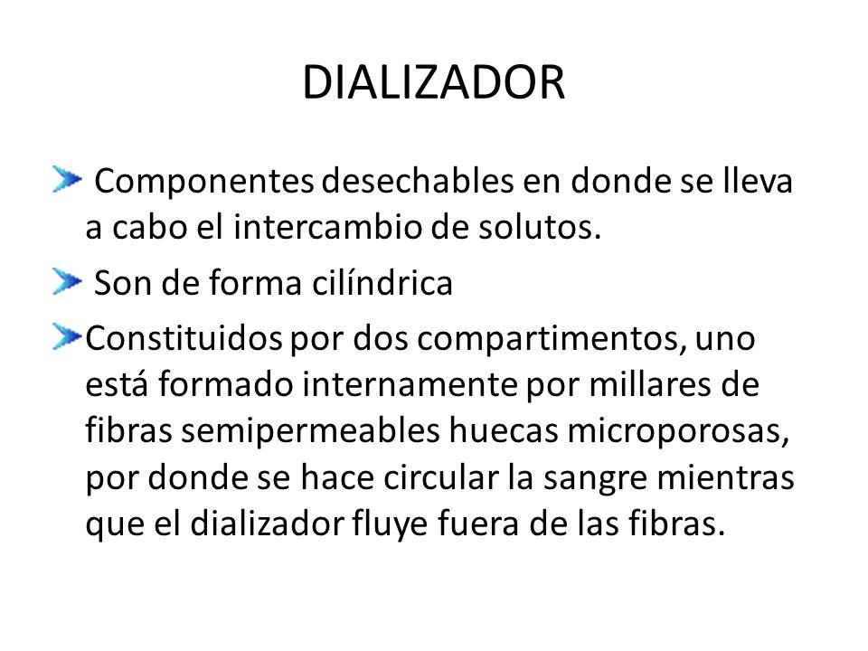 DIALIZADOR Componentes desechables en donde se lleva a cabo el intercambio de solutos. Son de forma cilíndrica.