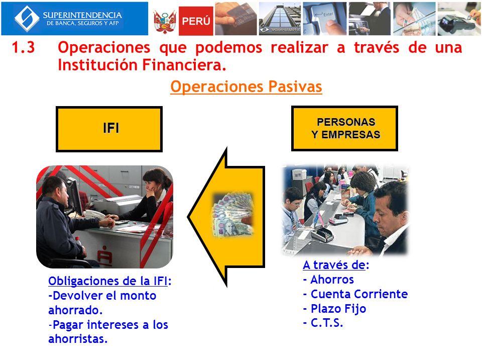 1.3 Operaciones que podemos realizar a través de una Institución Financiera.
