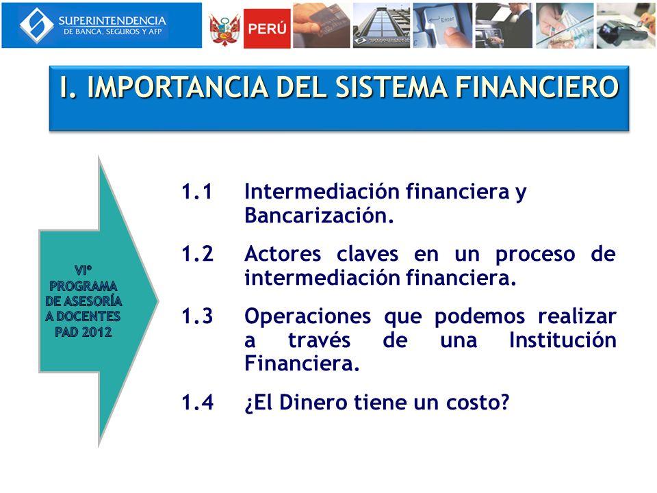 I. IMPORTANCIA DEL SISTEMA FINANCIERO