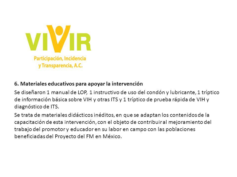 6. Materiales educativos para apoyar la intervención