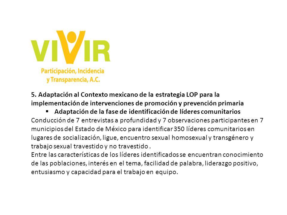 5. Adaptación al Contexto mexicano de la estrategia LOP para la implementación de intervenciones de promoción y prevención primaria