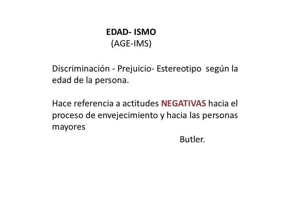 EDAD- ISMO (AGE-IMS) Discriminación - Prejuicio- Estereotipo según la edad de la persona.