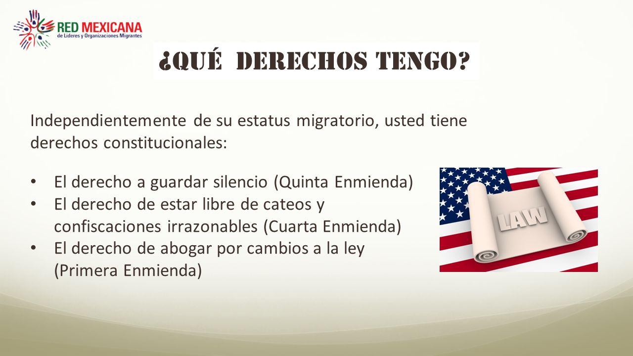 ¿QUÉ derechos tengo Independientemente de su estatus migratorio, usted tiene derechos constitucionales: