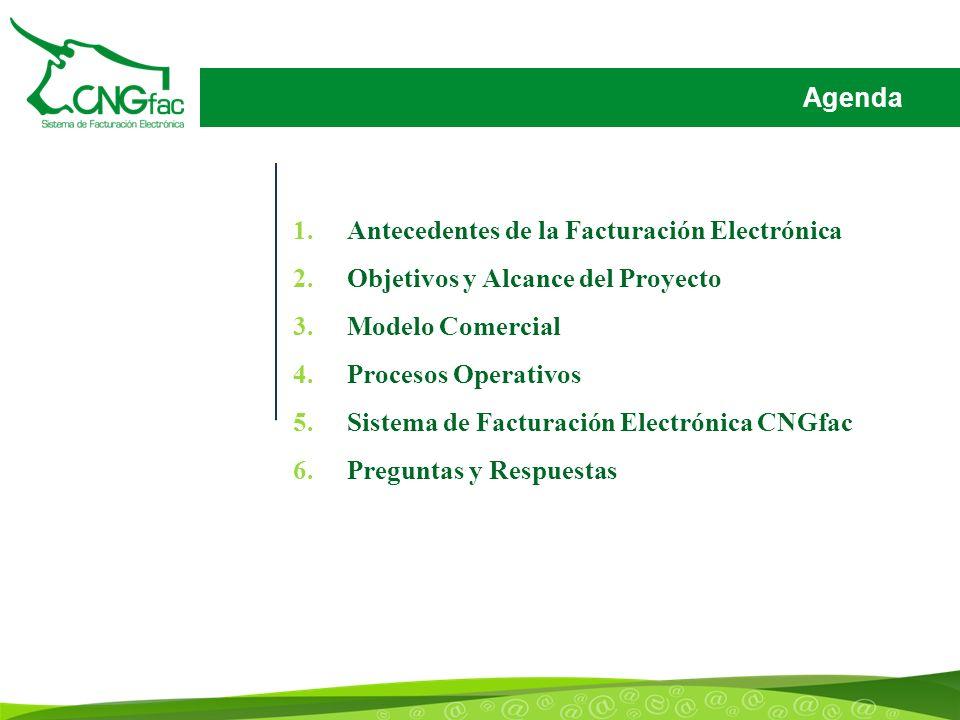 Agenda Antecedentes de la Facturación Electrónica. Objetivos y Alcance del Proyecto. Modelo Comercial.