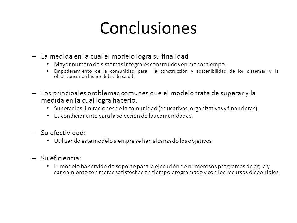 Conclusiones La medida en la cual el modelo logra su finalidad