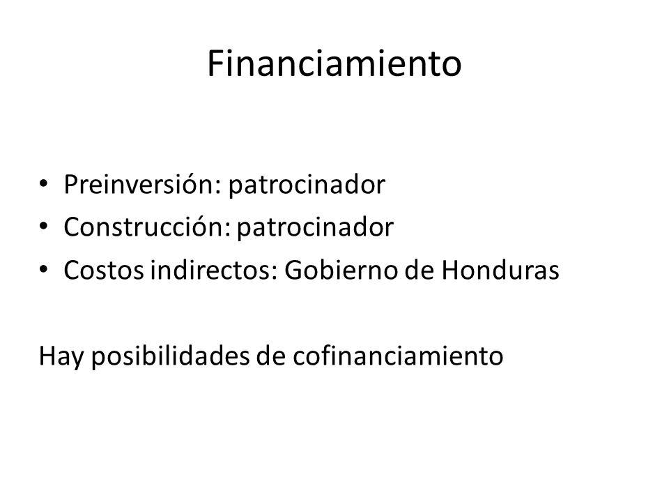 Financiamiento Preinversión: patrocinador Construcción: patrocinador