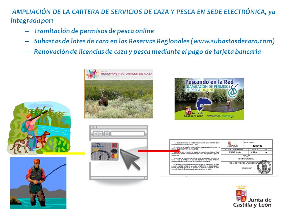 AMPLIACIÓN DE LA CARTERA DE SERVICIOS DE CAZA Y PESCA EN SEDE ELECTRÓNICA, ya integrada por: