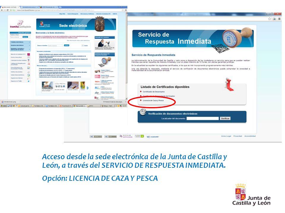 Acceso desde la sede electrónica de la Junta de Castilla y León, a través del SERVICIO DE RESPUESTA INMEDIATA.