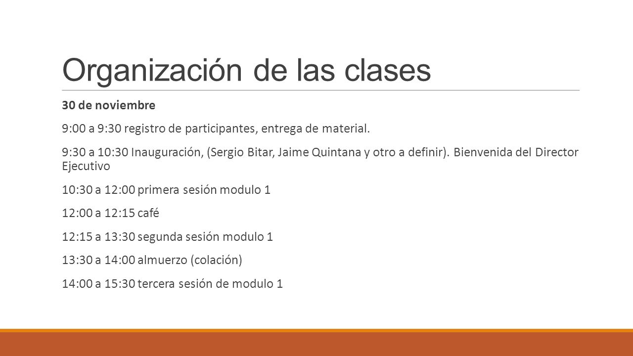 Organización de las clases