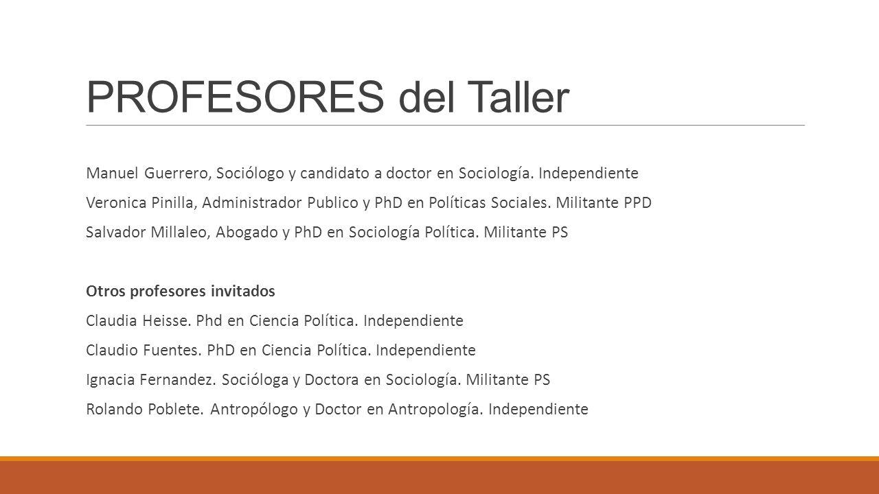 PROFESORES del Taller Manuel Guerrero, Sociólogo y candidato a doctor en Sociología. Independiente.
