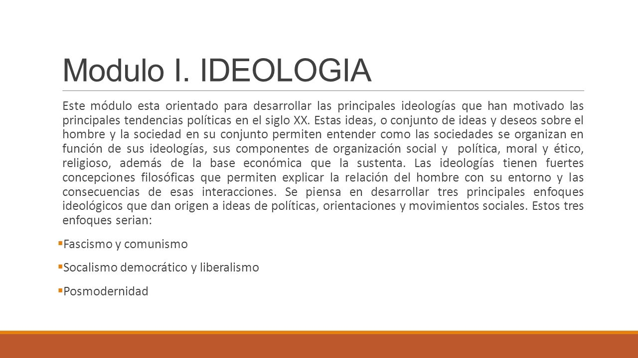 Modulo I. IDEOLOGIA