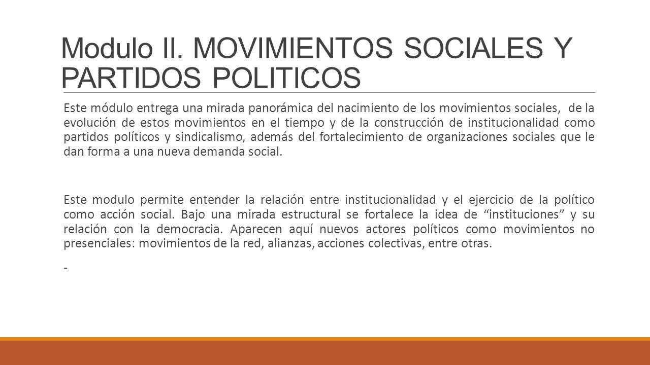 Modulo II. MOVIMIENTOS SOCIALES Y PARTIDOS POLITICOS