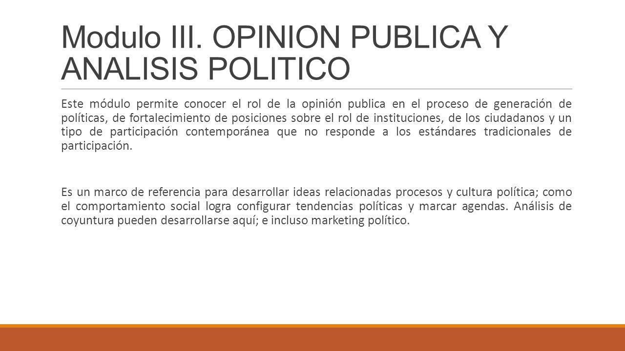 Modulo III. OPINION PUBLICA Y ANALISIS POLITICO