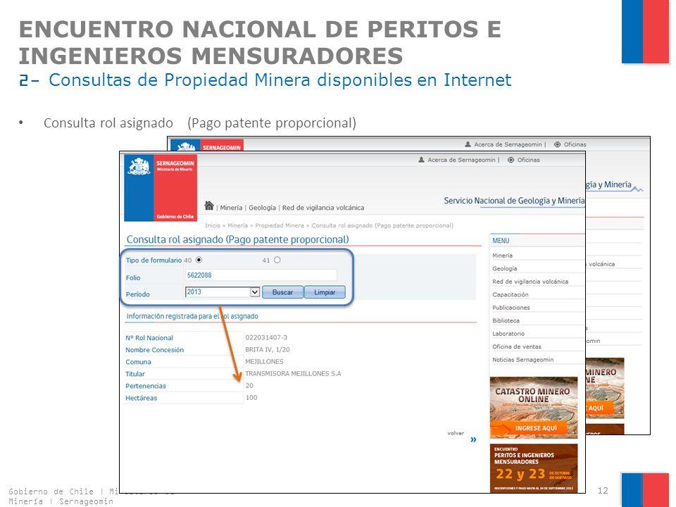 ENCUENTRO NACIONAL DE PERITOS E INGENIEROS MENSURADORES 2- Consultas de Propiedad Minera disponibles en Internet