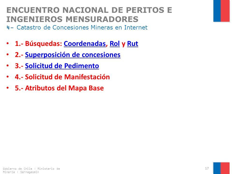 1.- Búsquedas: Coordenadas, Rol y Rut 2.- Superposición de concesiones