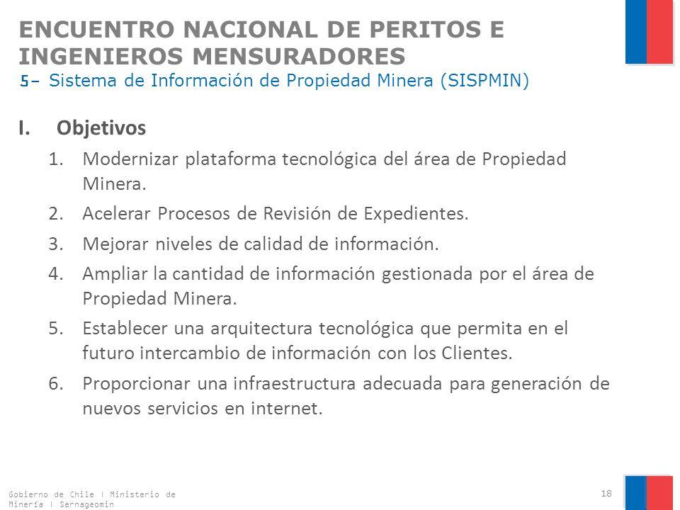 ENCUENTRO NACIONAL DE PERITOS E INGENIEROS MENSURADORES 5- Sistema de Información de Propiedad Minera (SISPMIN)