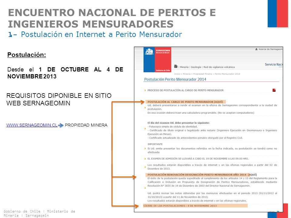ENCUENTRO NACIONAL DE PERITOS E INGENIEROS MENSURADORES 1- Postulación en Internet a Perito Mensurador