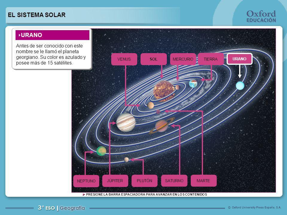 EL SISTEMA SOLAR URANO. Antes de ser conocido con este nombre se le llamó el planeta georgiano. Su color es azulado y posee más de 15 satélites.