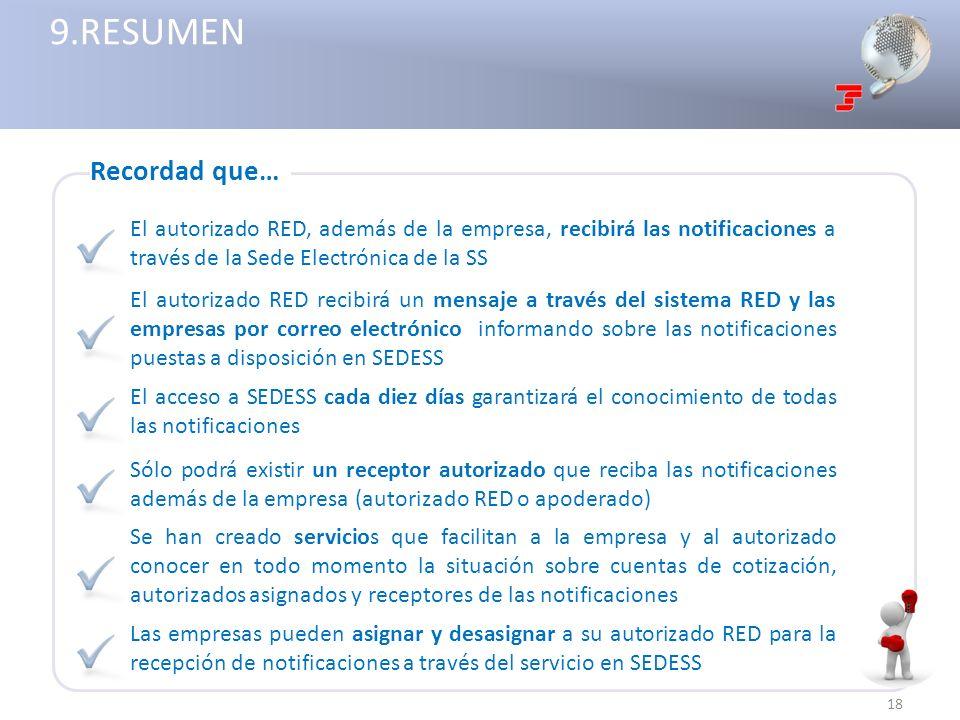 9.RESUMEN Recordad que… El autorizado RED, además de la empresa, recibirá las notificaciones a través de la Sede Electrónica de la SS.