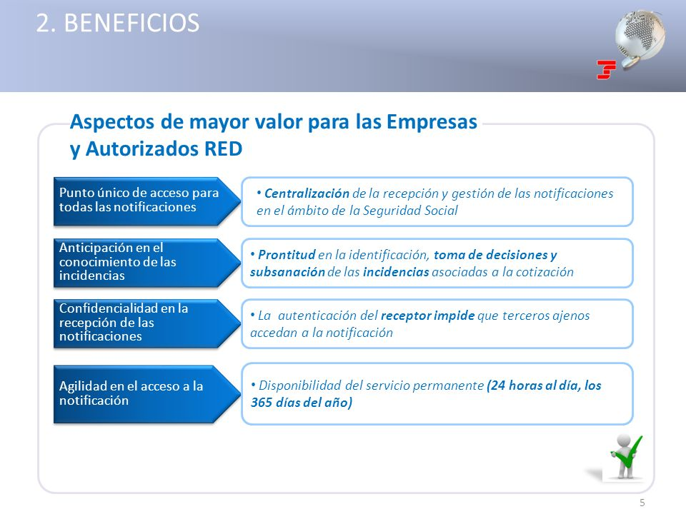 2. BENEFICIOS Aspectos de mayor valor para las Empresas y Autorizados RED. Punto único de acceso para todas las notificaciones.