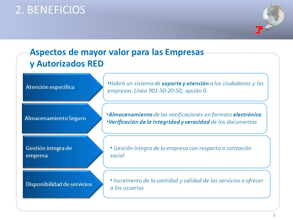 2. BENEFICIOS Aspectos de mayor valor para las Empresas y Autorizados RED. Atención específica.