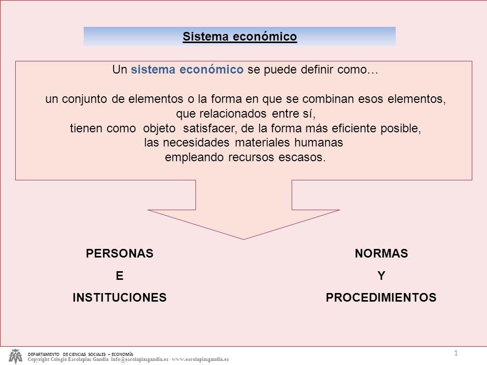 Sistema económico PERSONAS E INSTITUCIONES NORMAS Y PROCEDIMIENTOS