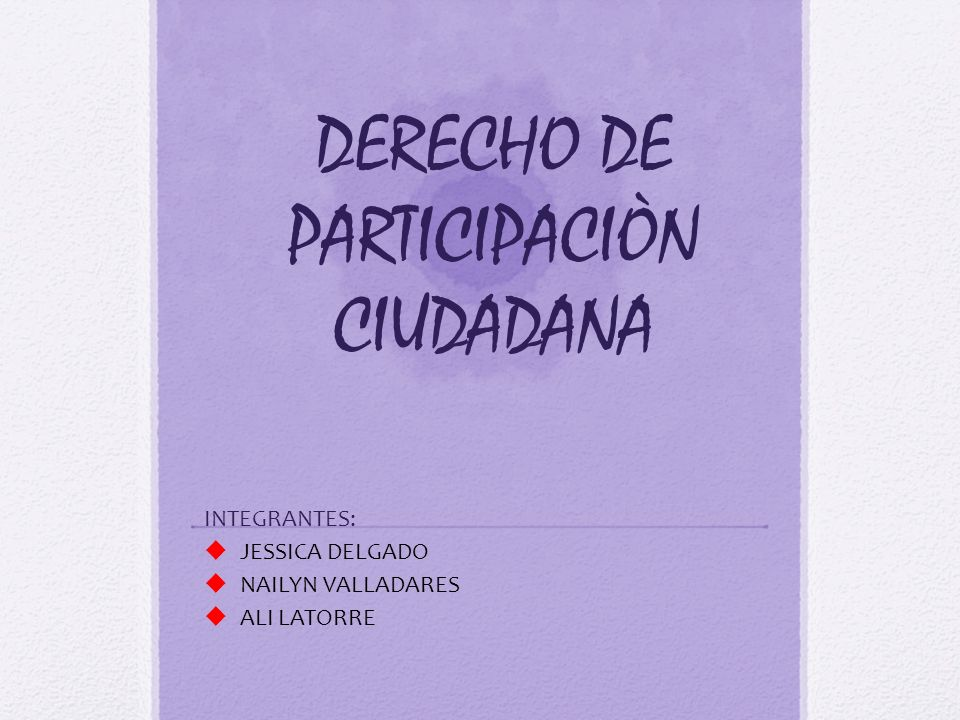 DERECHO DE PARTICIPACIÒN CIUDADANA
