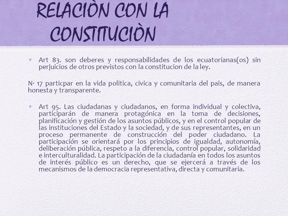 RELACIÒN CON LA CONSTITUCIÒN