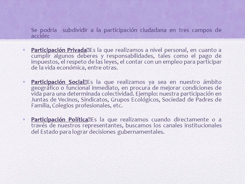 Se podria subdividir a la participación ciudadana en tres campos de acción: