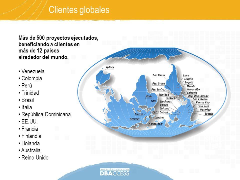 Clientes globales Más de 500 proyectos ejecutados, beneficiando a clientes en más de 12 países alrededor del mundo.