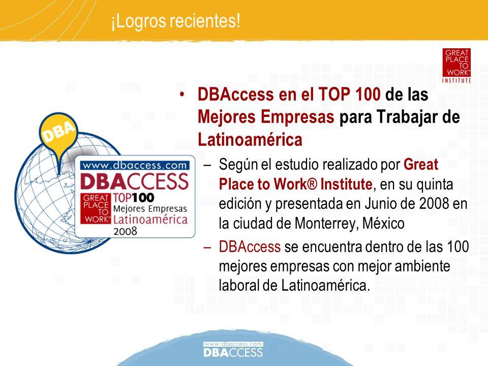 ¡Logros recientes! DBAccess en el TOP 100 de las Mejores Empresas para Trabajar de Latinoamérica.