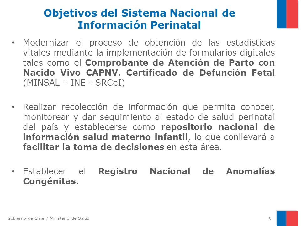 Objetivos del Sistema Nacional de Información Perinatal