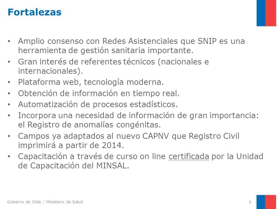 Fortalezas Amplio consenso con Redes Asistenciales que SNIP es una herramienta de gestión sanitaria importante.