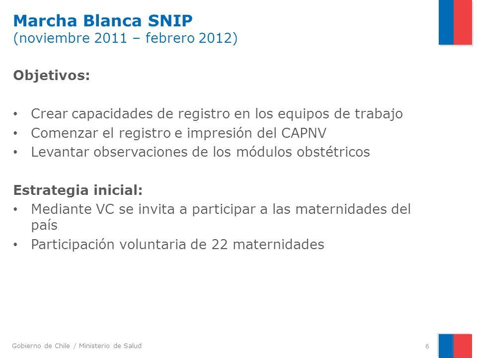 Marcha Blanca SNIP (noviembre 2011 – febrero 2012)