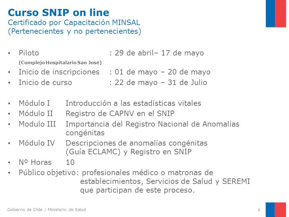 Curso SNIP on line Certificado por Capacitación MINSAL (Pertenecientes y no pertenecientes)