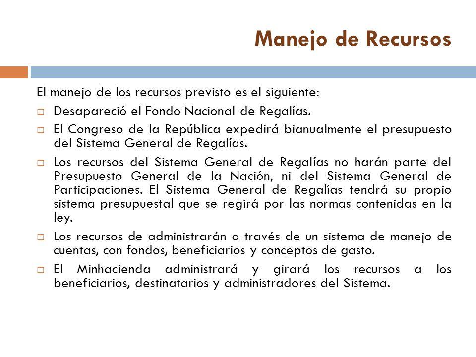 Manejo de Recursos El manejo de los recursos previsto es el siguiente: