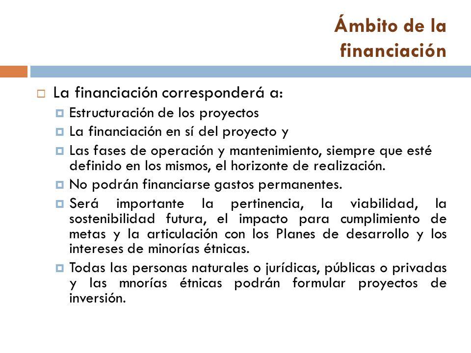 Ámbito de la financiación