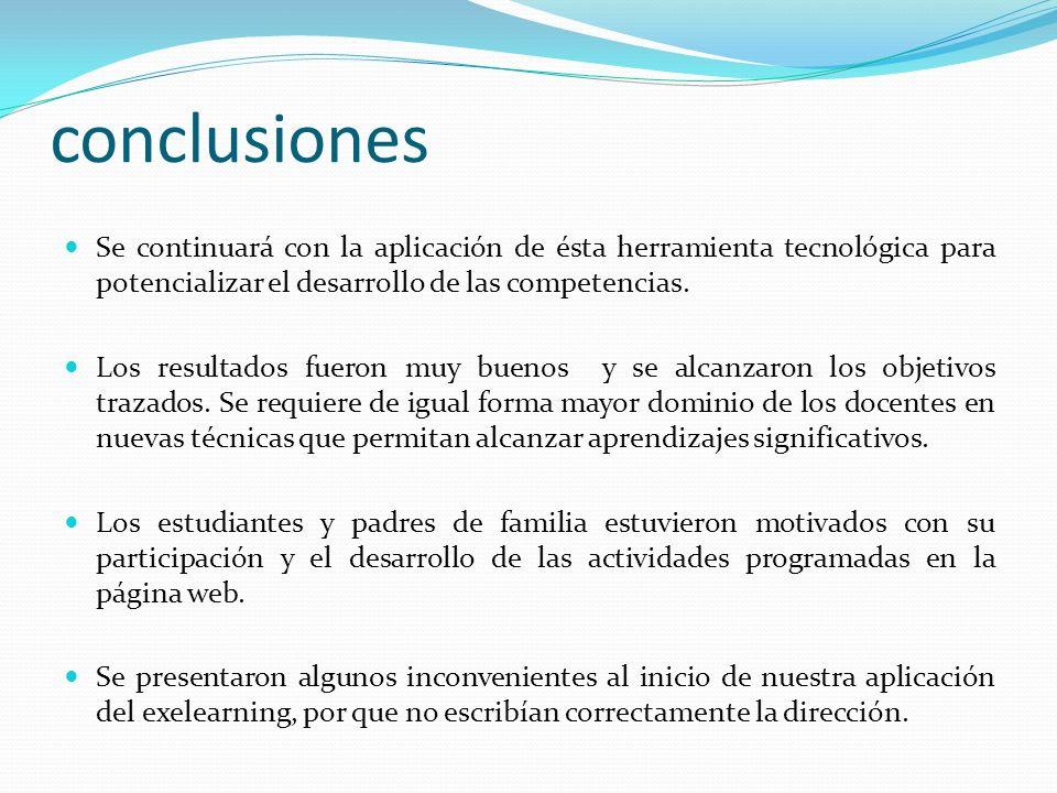 conclusiones Se continuará con la aplicación de ésta herramienta tecnológica para potencializar el desarrollo de las competencias.