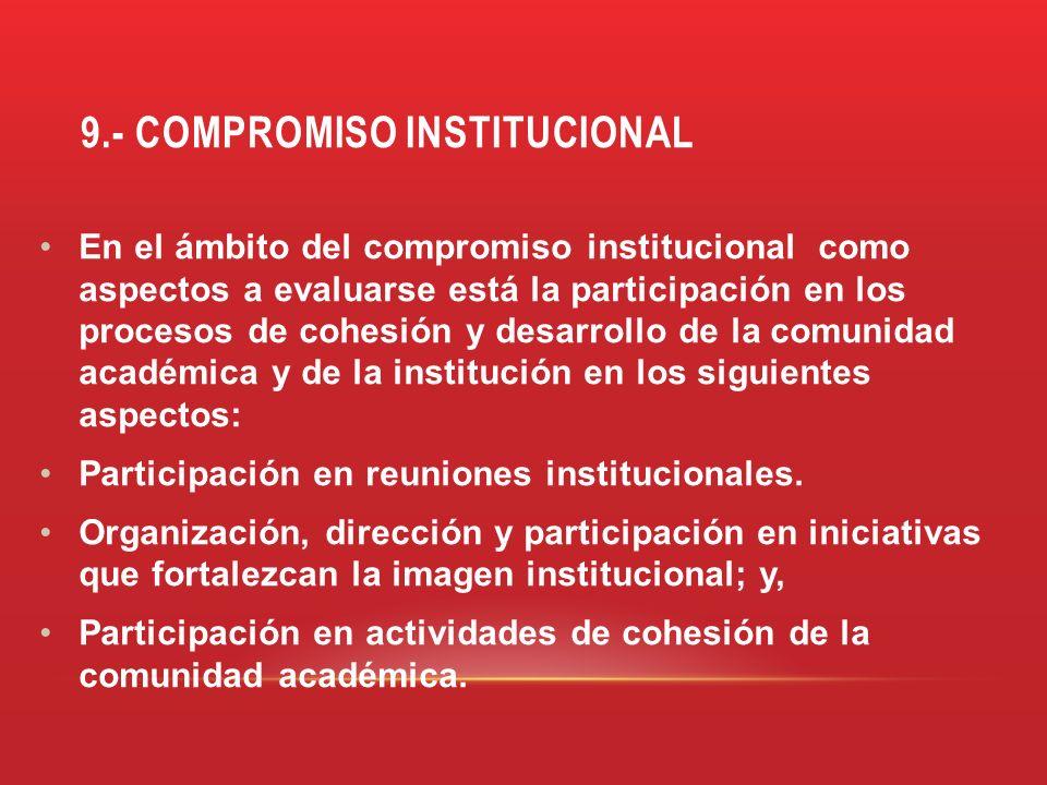 9.- COMPROMISO INSTITUCIONAL