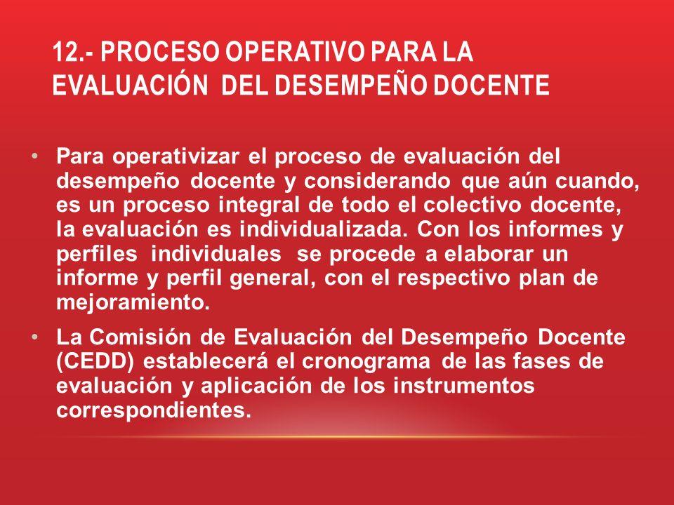 12.- PROCESO OPERATIVO PARA LA EVALUACIÓN DEL DESEMPEÑO DOCENTE