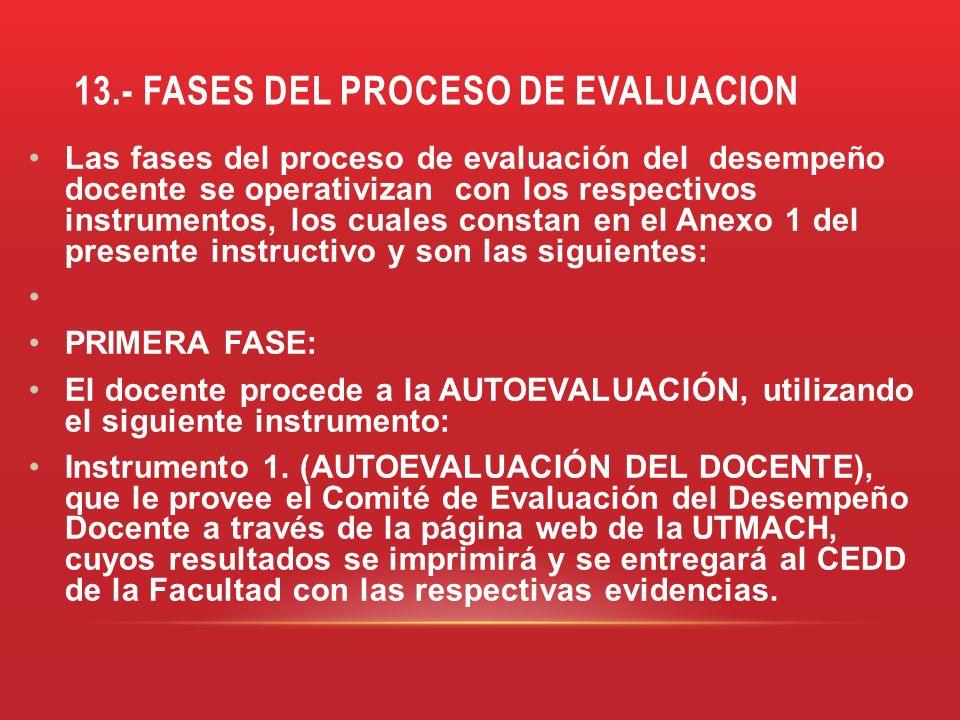 13.- FASES DEL PROCESO DE EVALUACION